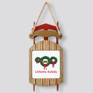 Lithuania Christmas 2 Sled Ornament