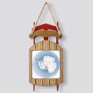 Antarctica labeled map Sled Ornament