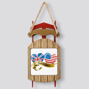 Our Family: UK and USA heart-shaped flags Sled Orn