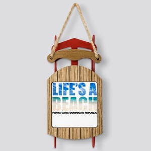 LIFESABEACH1_whtT Sled Ornament