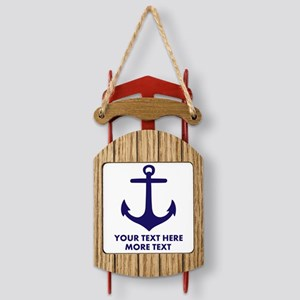 Nautical boat anchor Sled Ornament