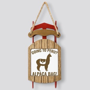 AlpacaPeru1A Sled Ornament