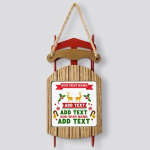 personalized add Text Christmas Sled Ornament