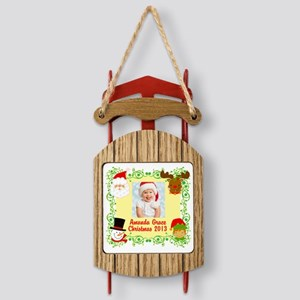 Customize Babys Christmas Sled Ornament