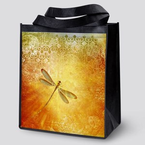 Golden dragonfly Reusable Grocery Tote Bag