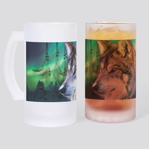 dream catcher northern light wolf Frosted Stein