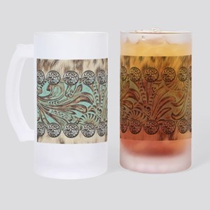 rustic teal western leather Frosted Stein