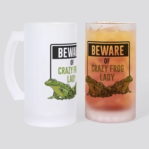 Beware of Crazy Frog Lady Frosted Stein