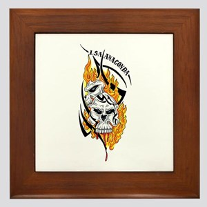 Skulls with Flames Framed Tile