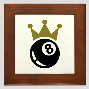 Eight ball billiards crown Framed Tile
