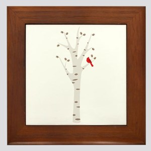 Winter Birch Tree Cardinal Bird Framed Tile