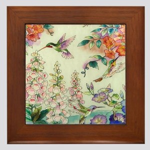 hummingbirds and flowers Framed Tile