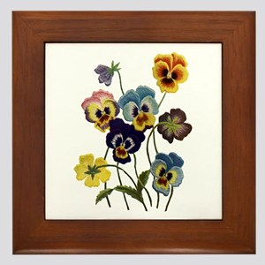 PARADE OF PANSIES Framed Tile