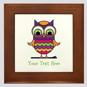 Customizable Whimsical Owl Framed Tile