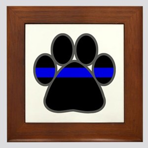 Blue Line K9 Paw Framed Tile