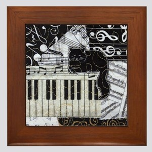 keyboard-sitting-cat-ornament Framed Tile