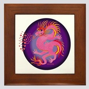 Pink Dragon with Hearts Framed Tile