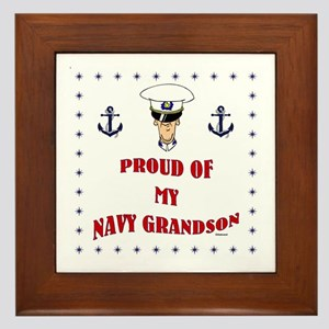 Proud Of My Navy Grandson Framed Tile