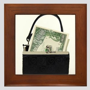 Purse With Big Bucks Framed Tile
