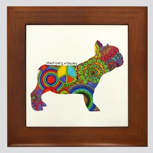Peace Love Frenchies Framed Tile