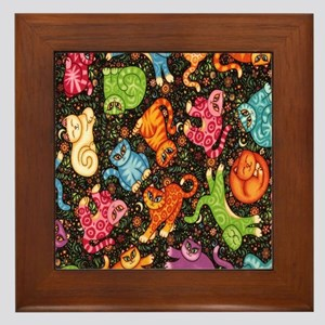 Catty Multi Cat Black Framed Tile