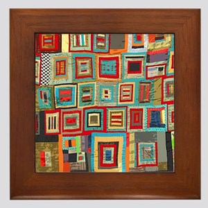 Colorful Crazy Quilt Flip Flops Framed Tile