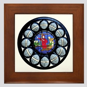 Stained Glass Rose Window Bible Scene. Framed Tile