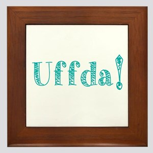 Uffda Turquoise Text Framed Tile