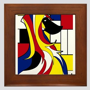 Geometric Afghan Hound Abstract Framed Tile