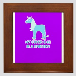 my other car is a unicorn Framed Tile