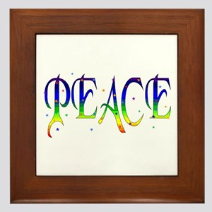 Rainbow Peace Stars Framed Tile