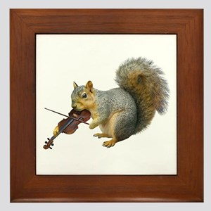 Squirrel Violin Framed Tile