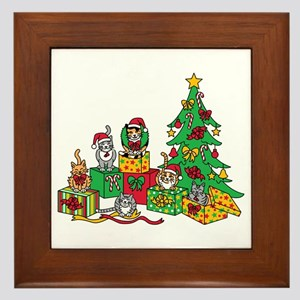 Christmas Cats Framed Tile