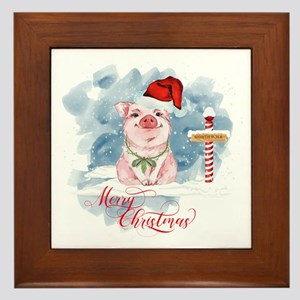 Merry Christmas Pig North Pole Framed Tile