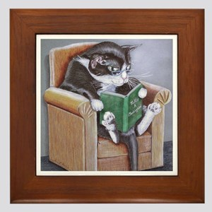 Reading Cat Framed Tile