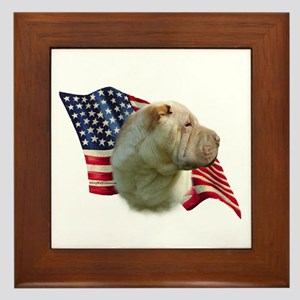 Shar-Pei Flag Framed Tile
