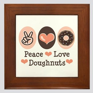 Peace Love Doughnuts Donut Framed Tile