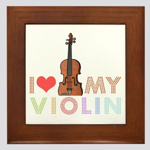 I Love My Violin Framed Tile