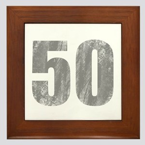 Stonewashed 50th Birthday Framed Tile