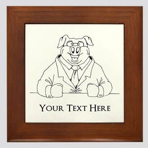 Pig in Suit. Custom Text Framed Tile