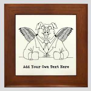 Flying Pig in Suit. Custom Text Framed Tile