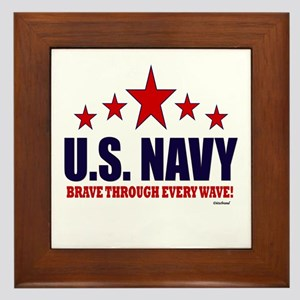 U.S. Navy Brave Through Every Wave Framed Tile