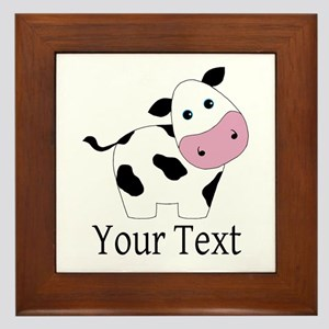 Personalizable Black and White Cow Framed Tile