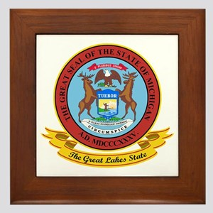 Michigan Seal Framed Tile