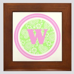 Lime Paisley Monogram-W Framed Tile
