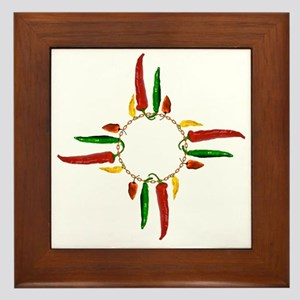 Chile pepper zia symbol Framed Tile