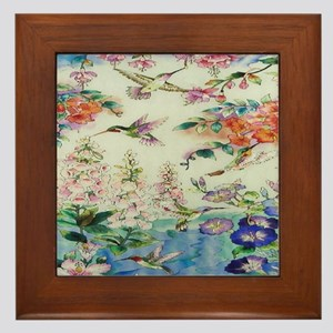 HUMMINGBIRDS_PAINTING_CANVAS_12BY14 Framed Tile