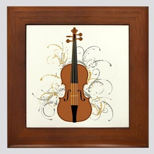 Violin Swirls (for dark colours) Framed Tile