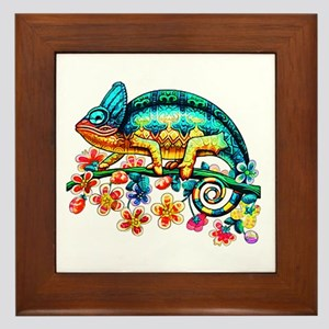 Colorful Camouflage Chameleon Framed Tile