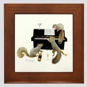 Squirrels at the Piano Framed Tile